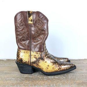 Durango Kid's Western Cowboy Boots Brown Snakeskin